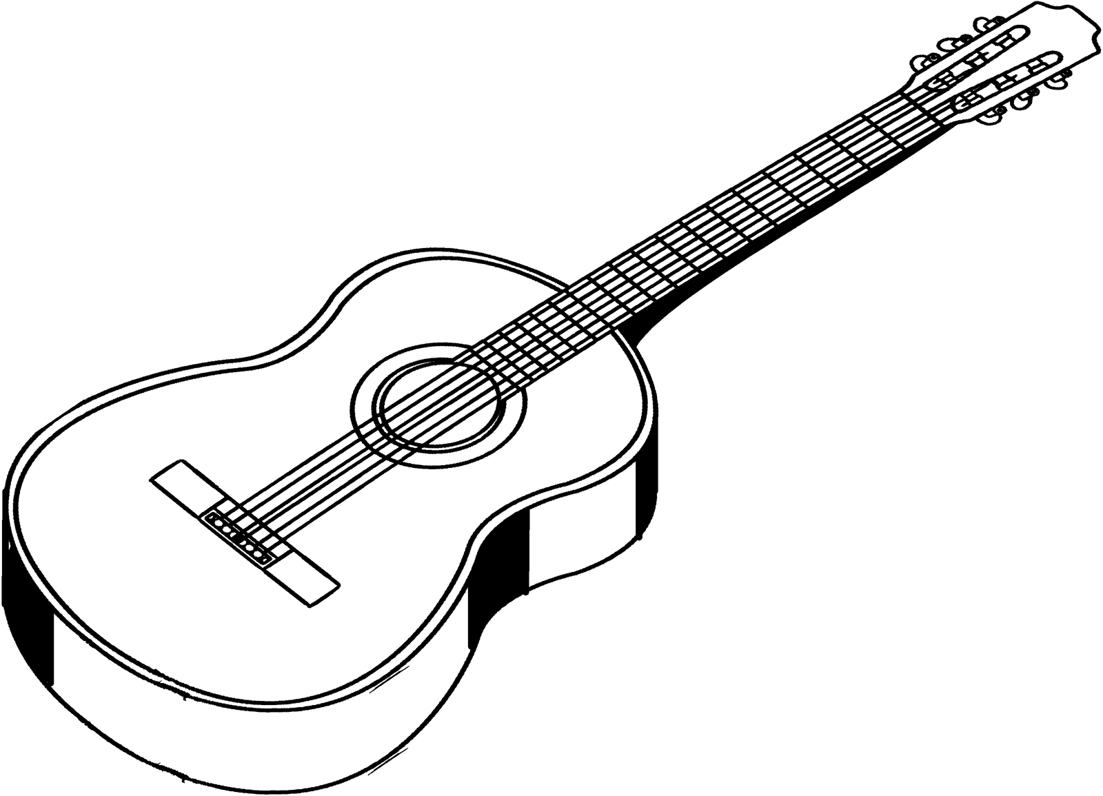 Line Drawing Music : Line art of an acoustic guitar by ihcoyc on deviantart