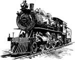 Steampunk steam locomotive line art stock