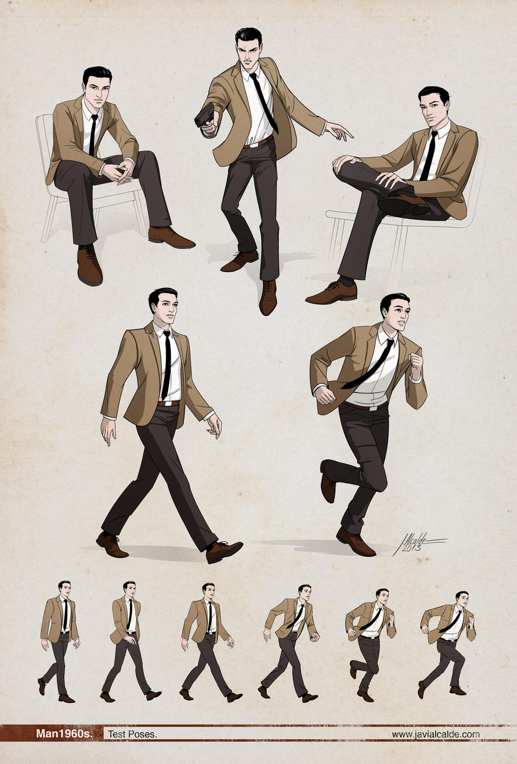 Man 1960s Dynamic poses by javieralcalde on DeviantArt -> Pose Tv Dising