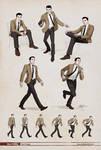 Man 1960s  Dynamic poses.