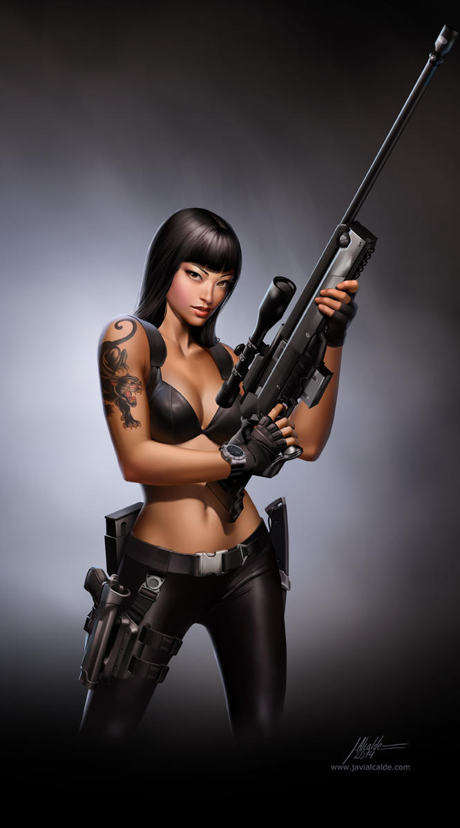 Jurassic Hunter. Sniper Girl. by javieralcalde