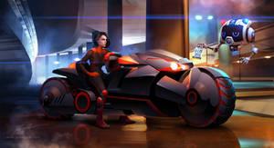 Cyberpunk biker girl