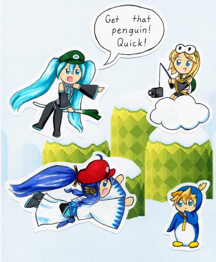 Vocaloid Penguin Caper by FireFiriel