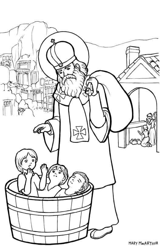 st nicholas coloring page by firefiriel
