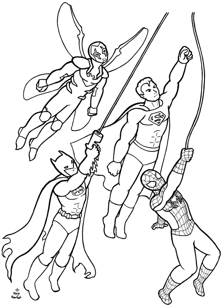 superheroes coloring page commission by firefiriel - Elementary Coloring Pages