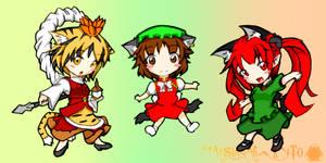 three chibi cats
