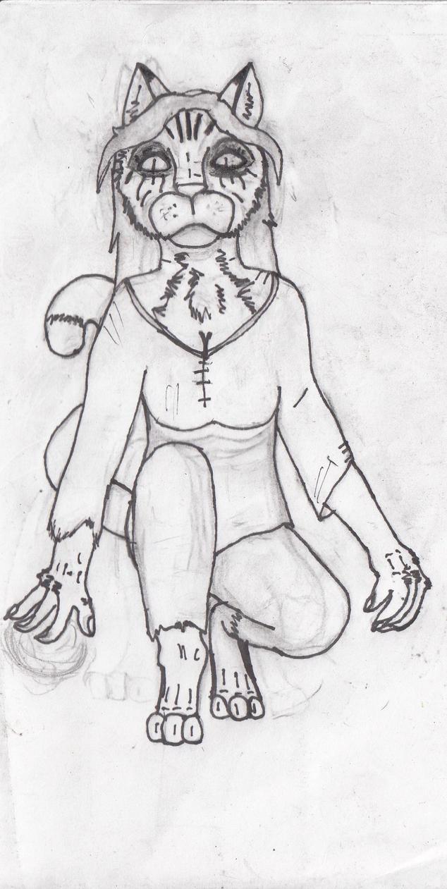 Drawing Line Qt : Female khajiit line art by rodeoqt on deviantart