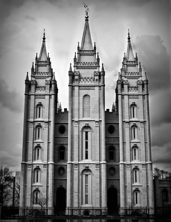 LDS Temple Clouds B and W by clinekurt78