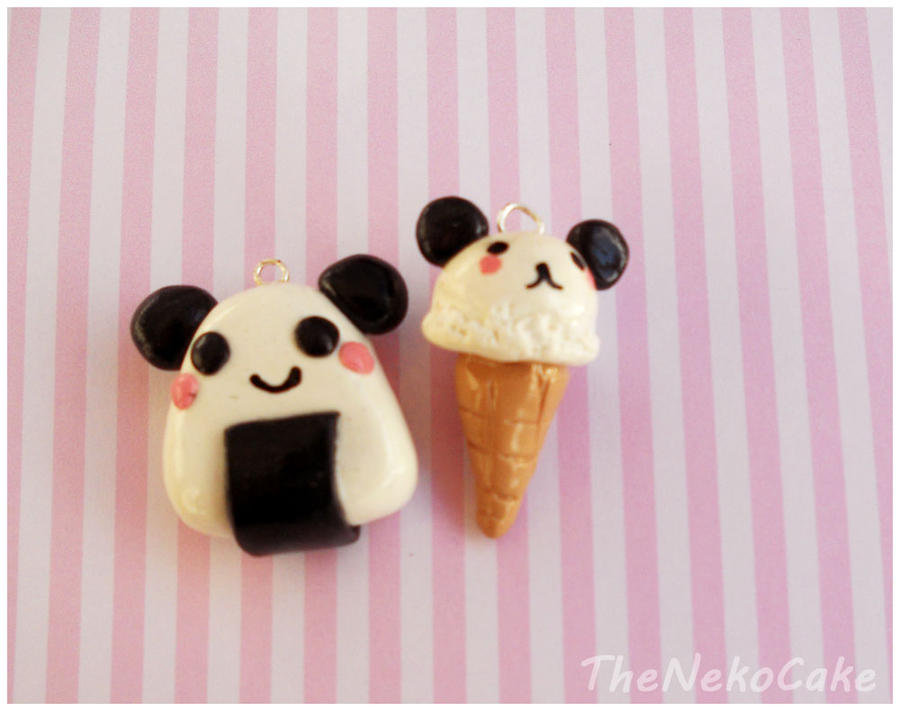Panda Clay Charms by NekoCakeArt