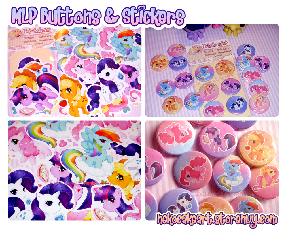 My Little Pony Buttons and Stickers by NekoCakeArt