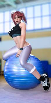 Honoka on an Exercise Ball