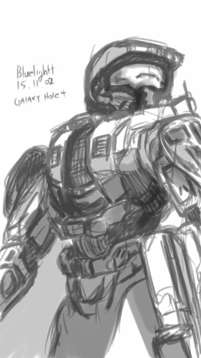 Drawing Master Chief with Galaxy note4 by bluelightt
