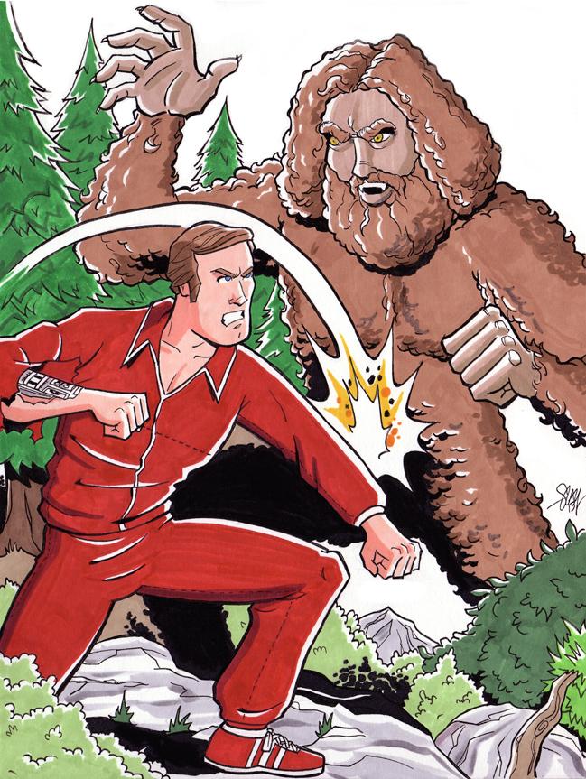 Six Million Dollar Man vs Bigfoot by calslayton