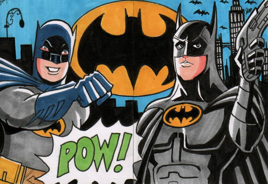 Batman Sketch Cards - Adam West and Michael Keaton by calslayton
