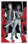 Daryl and Michonne from The Walking Dead by calslayton