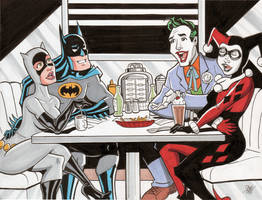 Batman Catwoman Joker Harley Quinn Double Date by calslayton