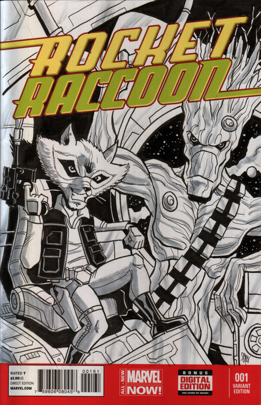 Rocket Raccoon and Groot Sketch Cover by calslayton
