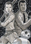 Rey, Finn and BB8 Charity Sketch Card by calslayton