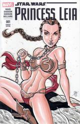 Slave Leia Sketch Cover by calslayton