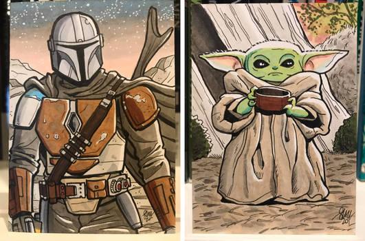 Madalorian and Grogu Sketch Cards