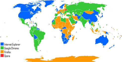 Most Used Web Browser World Map by August 2012