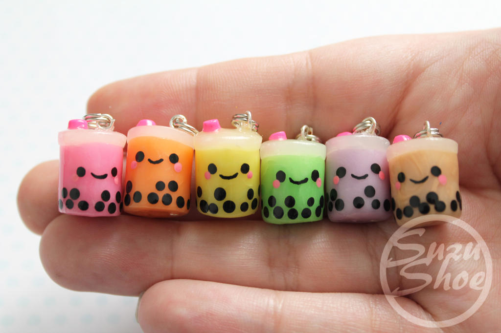 Kawaii Bubble Tea Boba Polymer Clay Charms By Suzushoe
