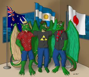 Three Green Dragons