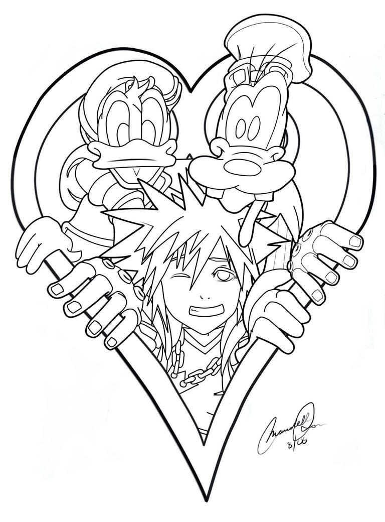 Kingdom Hearts Lineart : Kingdom hearts line art by mandell on deviantart