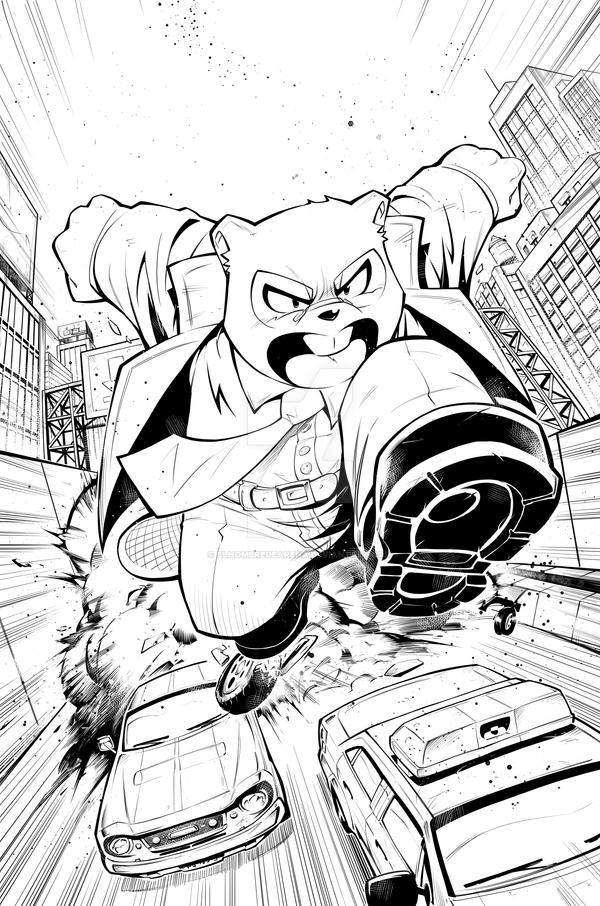 Mr. Beaver issue  02  Cover inks by ElHombredeArena