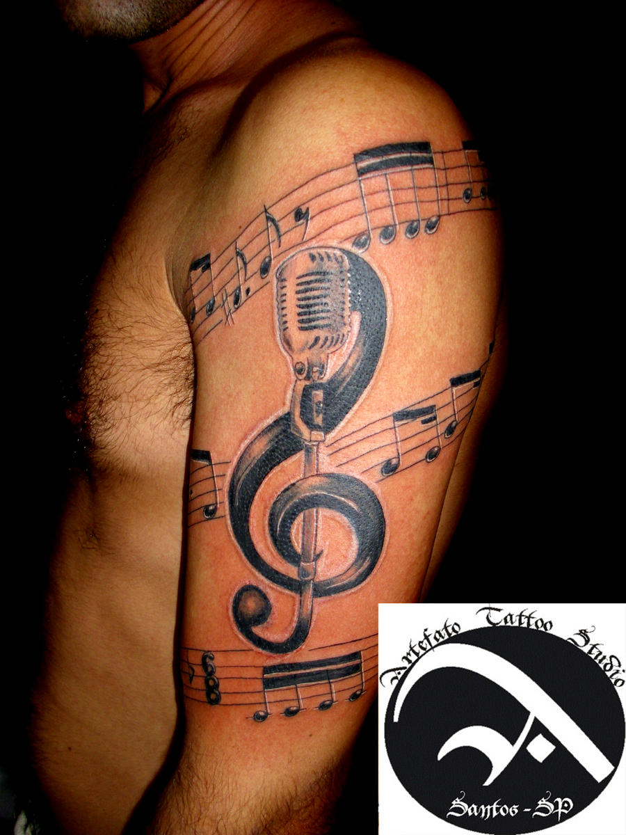 large treble clef pretty cool with the mic music tattoos pinterest. Black Bedroom Furniture Sets. Home Design Ideas