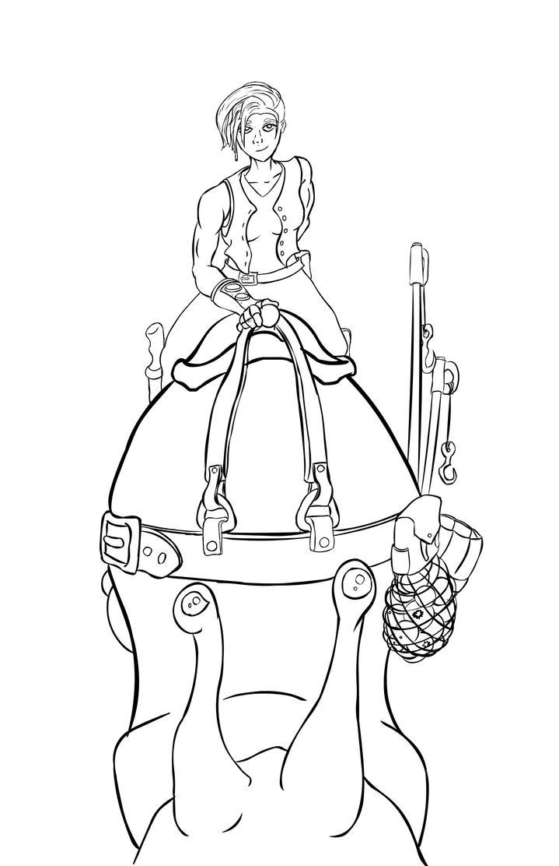 Snail Rider Line Art by Scifibasskid