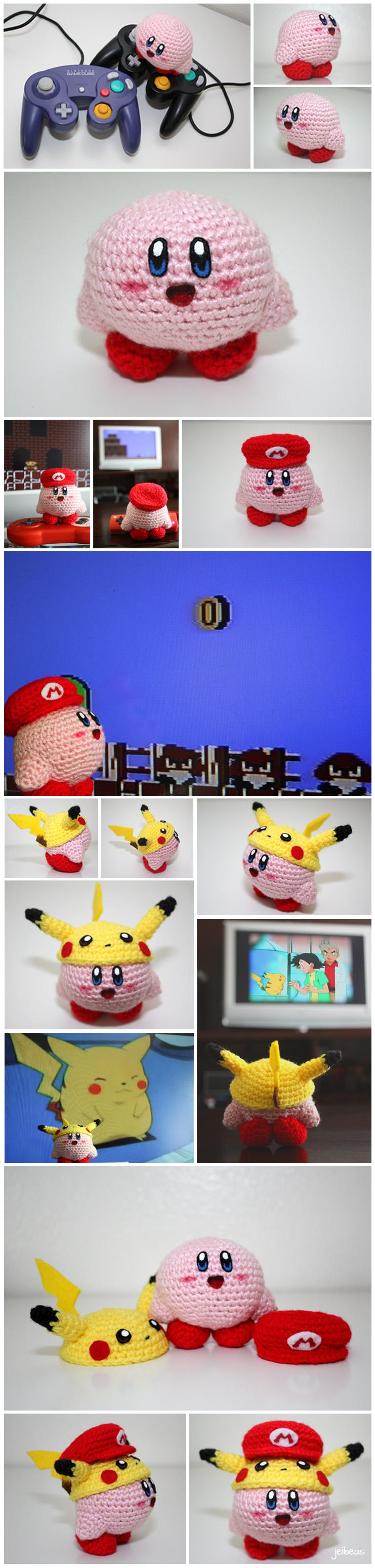 Kirby + Mario and Pikachu hats by jeibeas