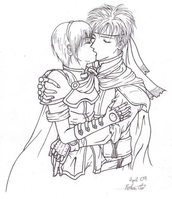 Line Drawing Kiss : Ike marth kiss lineart by biney bottlesworth on deviantart