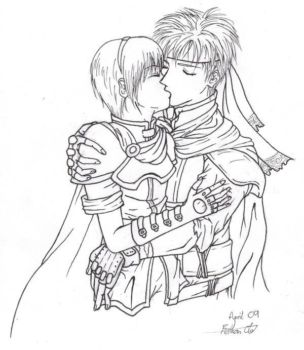Line Drawing Kiss : Ike marth kiss lineart by biney bottlesworth on deviantart
