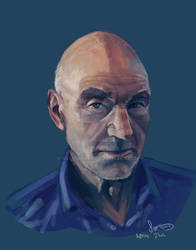 Patrick Stewart Portrait Painting by Sgt-Sahara