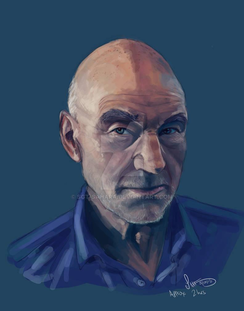 Patrick Stewart Portrait Painting