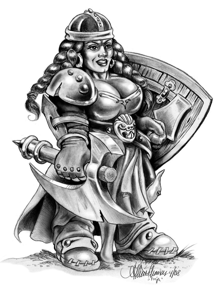 Asgard > Renegát Hadvezérek Freja__Dwarf_Shield_Maiden_by_athenatt