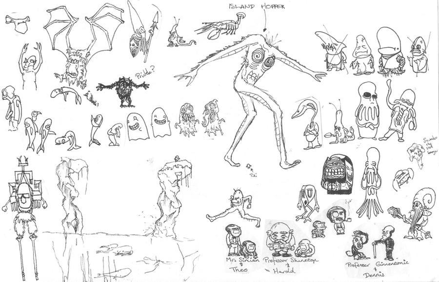 Character doodles by T-RexJones