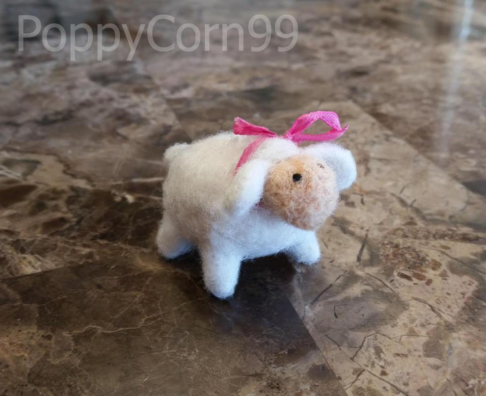 Needle Felted Lamb by PoppyCorn99