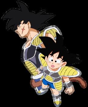 Kid Goku and Bardock