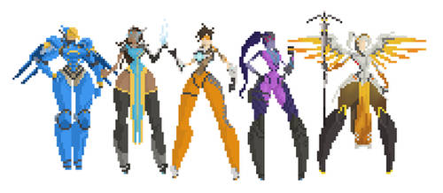 Overwatch Entire Cast of Female characters 8bit