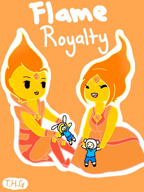 Chibi Flame Prince and princess by The-Human-Girl