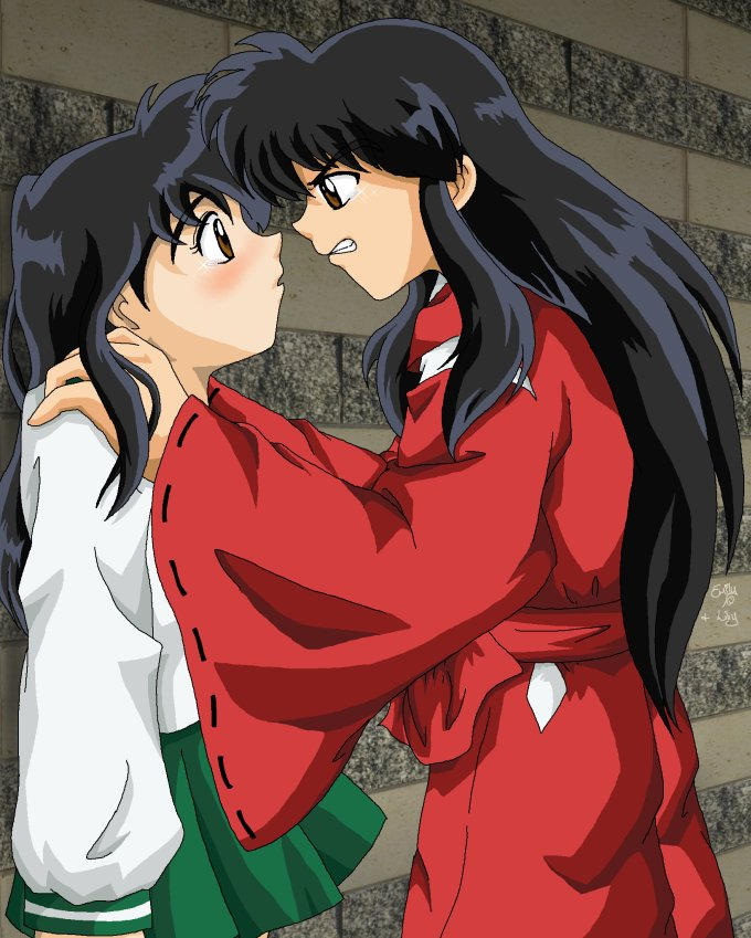 Human InuYasha And Kagome -fin By Cowgirlem On DeviantArt