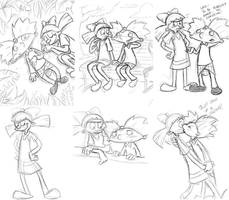Hey Arnold - Arnold x Helga sketch dump 2 by cowgirlem