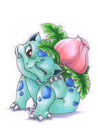 Ivysaur having a scratch by cowgirlem