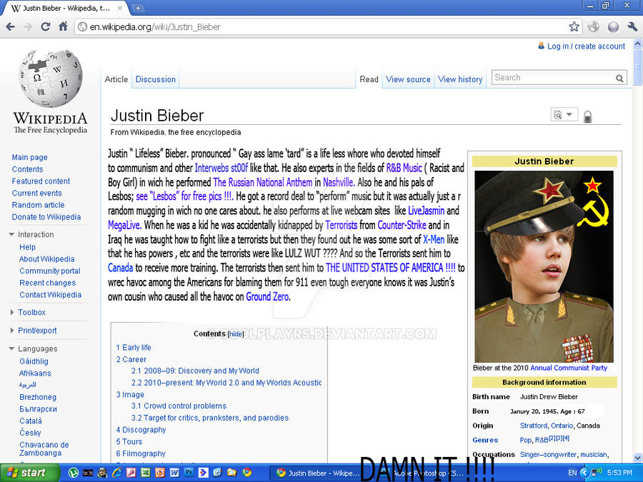 Justin Bieber, From Wikipedia by coolplayrs ...