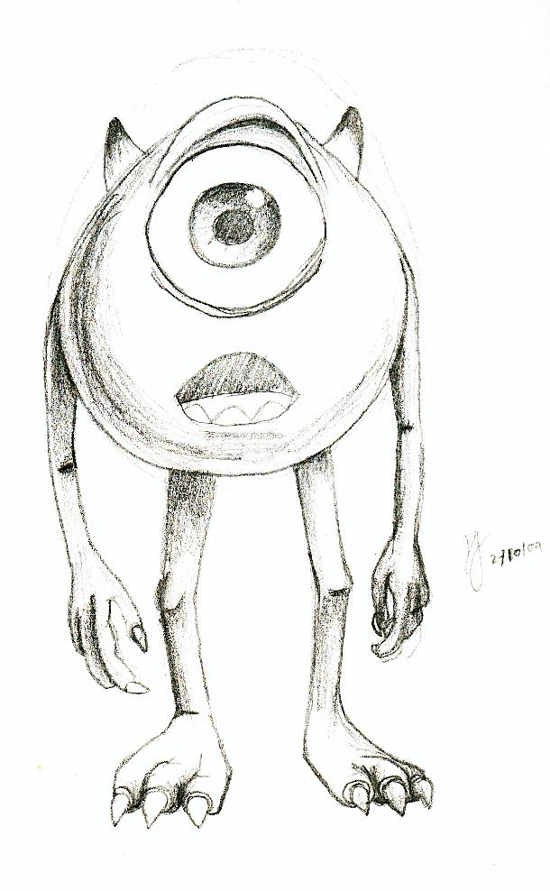 How To Draw Mike Wazowski And Sully Mike Wazowski - Drawing by