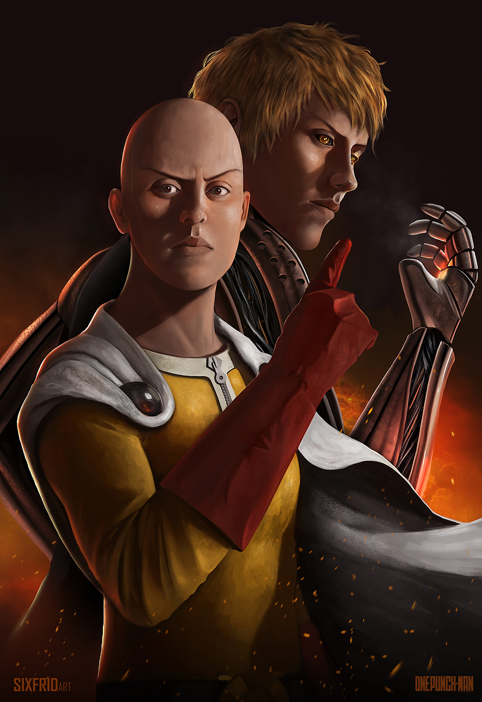 One punch man Saitama and Genos by sixfrid