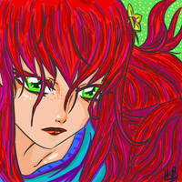 Girl with Red Hair and Green eyes by yuvush