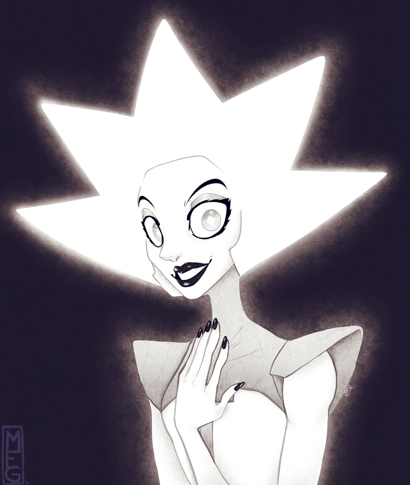 The episode with the white diamon reveal is out for literally 1 second and for SOME reason I immediately went and drew her even though I NEVER draw humans, ALMOST never manage to draw fanart AND YE...